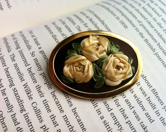 Brown, Cream and Green Embroidered Rose Brooch- Silk Ribbon Mother's Day Gift  by BeanTown Embroidery