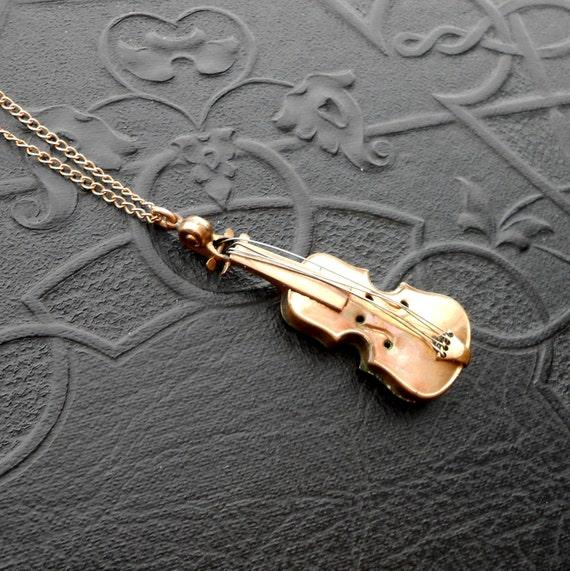 Victorian Violin Charm Pendant Necklace