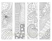 Zendoodle Bookmarks DIY, Zentangle Inspired Printable Coloring, Digital Download, Sheet 9