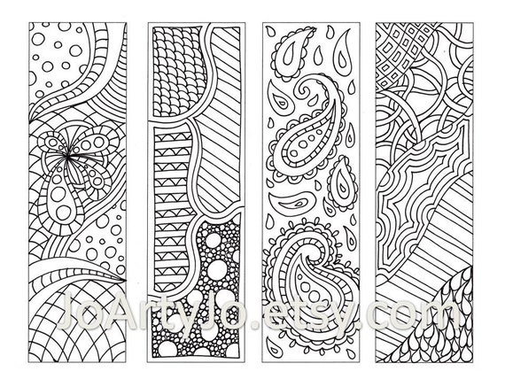 Zendoodle Bookmarks DIY, Zentangle Inspired Printable Coloring, Digital Download, Sheet 9