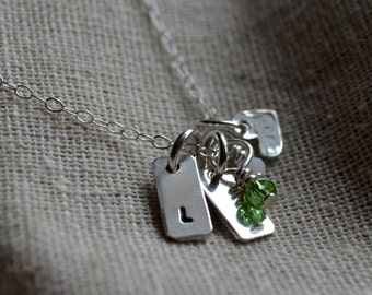Petite Mother Necklace - Customize  - Initials - Birthstones