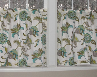"""Covington Savannah Paisley Surf Cafe Curtains 80"""" wide x 30"""" long Big Bold Flowers Turquoise Green Blue Taupe"""