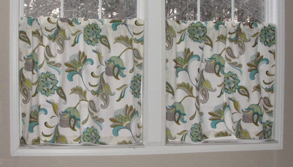 "Covington Savannah Paisley Surf Cafe Curtains 80"" wide x 30"" long Big ..."