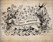 Antique Ornate French Merci Beaucoup Thank You Digital Download for Papercrafts, Transfer, Pillows, etc Burlap No. 7861