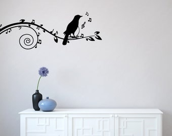 "WALL - Bird -  Songbird on Musical Branch - Wall Vinyl Decal (60""w x 22""h) (BLACK)"