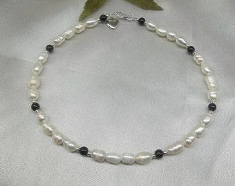 White Pearl Anklet Black Onyx Ankle Bracelet Silver Heart Ankle Bracelet  100% 925 Sterling Silver BuyAny3+Get1Free