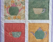 Teapot Table Topper, Teapots and Teacups Quilt, Appliqued Quilt, Quilted Wall Hanging