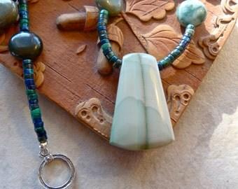 Imperial Jasper Pendant, Azurite and Jasper Blue Green Artisan Earthy Necklace