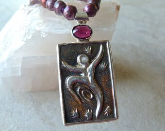 Sterling Silver Dancing Goddess Pendant with Faceted Fuschia Pearls and Bali Silver Artisan Necklace