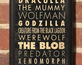 Classic Monsters of the Cinema Wall Art sign Plaque Home Decor Vintage Style Gift Present Blob thing King Kong Dracula Mummy Alien Antique