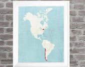"Custom Map, Personalized World Map Gift, Love Map, North South America Map, Sizes 5""x7"" up to 42""x70"""