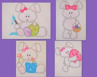 Easter Bunnies 01, 02, 03, 04 Machine Applique Embroidery Design - 4x4 & 5x7