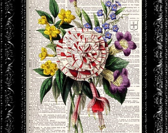 Vintage Flowers 4 - Vintage Dictionary Print Vintage Book Print Page Art Upcycled Vintage Book Art