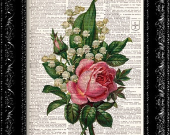 Vintage Flowers 16 - Vintage Dictionary Print Vintage Book Print Page Art Upcycled Vintage Book Art