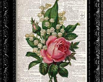 Vintage Flowers 16 - Vintage Dictionary Print Vintage Book Print Page Art Upcycled Vintage Book Art