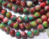 8mm Pink, Turquoise, Apple Green, Chocolate and White Natural White Jade Polished Gemstone Beads, Half Strand (INDOC579)