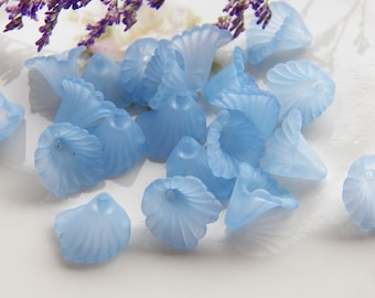 12mm Light Cornflower Blue Ruffled Calla Lily Frosted Acrylic Flower Beads, 12 PC (INDOC8)
