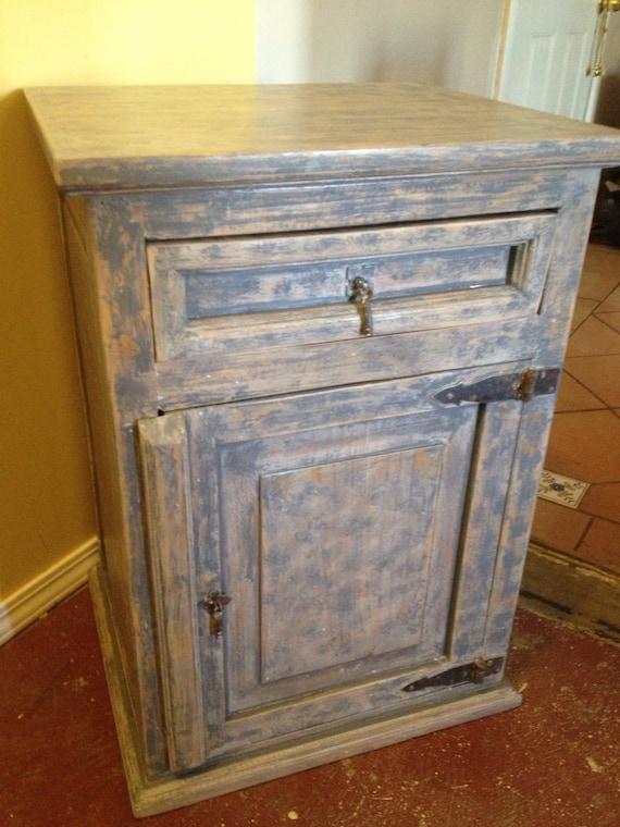 pine shabby chic grey nightstand cabinet by treasuresbymar. Black Bedroom Furniture Sets. Home Design Ideas
