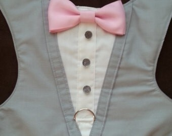 TUXEDO Harness Gray with Pink Bow Tie -XSMALL and SMALL Size Listing