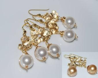 Bridesmaid Earrings, Bridal Flower Earrings, Triple-Flower Dangle Earrings, Wire Wrapped Pearl Drop Earrings, Wedding Jewelry, Gold