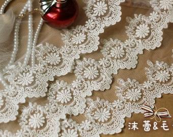 White Lace Trim Floral Fabric Trim Retro Lace 2 yards