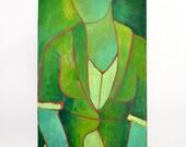 woman in green original 24x36 impasto painting by Elizabeth Rosen