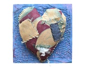 modern vintage ORIGINAL heart art tattered love vintage fabric on wood  by Elizabeth Rosen