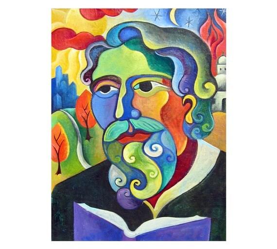 Original 30x40 portrait of Abraham Heschel from published kids book  paintings by Elizabeth Rosen