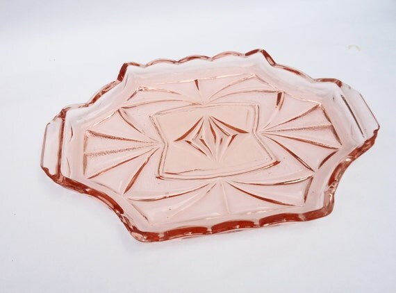 Vintage Pink Depression/Art Deco Tray, 1930-1950s, Sowerby Glassware, UK Seller