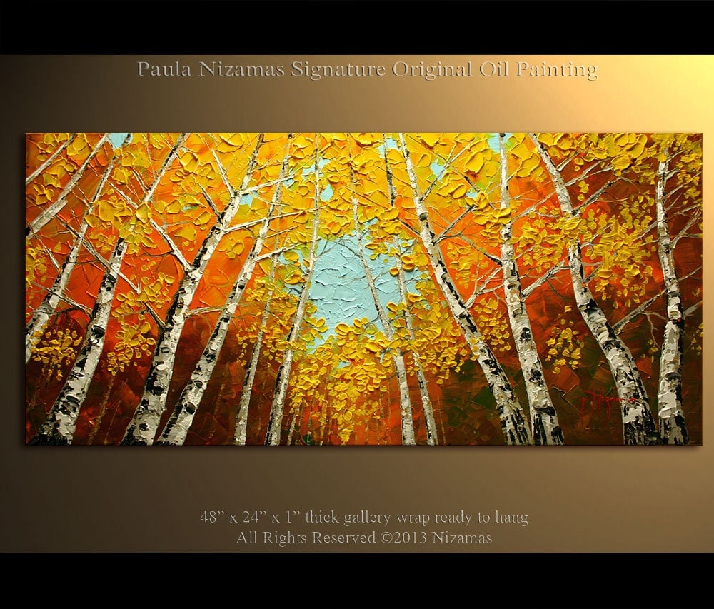 Birch oil painting modern oil painting silver birch tree for Contemporary oil paintings