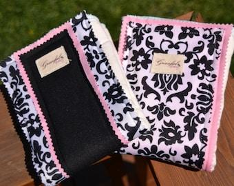 Pink & Black Damask Burp Cloths (Bamboo Prefolds) - Set of 2 (Ready to Ship)