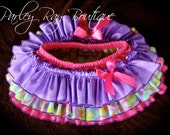 Parley Ray Pink and Purple Easter Spring All Around Ruffle Skirt Ruffled Baby Bloomers/ Diaper Cover/ Photo Props