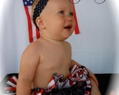 Parley Ray Stars and Stripes Patriotic Independence 4th of July All Around Ruffled Diaper Cover/ Baby Bloomers