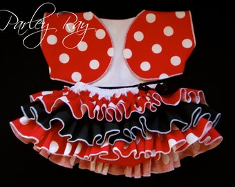 Beautiful Parley Ray Minnie Red Polka Dots Ruffle Skirt all around Ruffled Baby Bloomers and Shrug / Diaper Cover / Photo Props