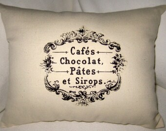 French Cafe Pillow II Paris Inspired Bakery Cushion, Chocolate Sweets, French Country Neutral Farmhouse Home Decor