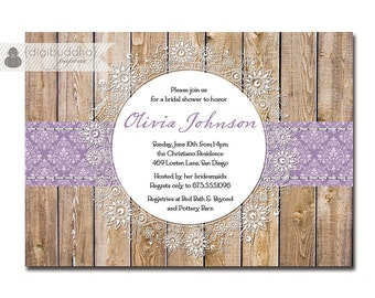 Lace Bridal Shower Invitation Purple Damask Rustic Wood Country Western Crochet Doily Shabby Chic Printable DIY or Printed - Olivia Style