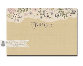 Linen Floral Thank You Card Shabby Chic Bridal Shower Rustic Wedding Vintage Antique 4x6 Thanks DIY Digital or Printed - Erin Style