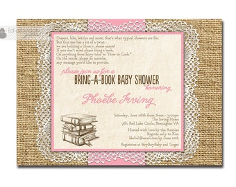 Lace Burlap Baby Shower Invitation Bring A Book Girl Rose Pink Baby Pink Rustic Doily Country Storybook Digital or Printed - Phoebe Style