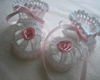 New White and Pink Pearled Booties / Christening / Baptism / Photos