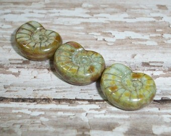 Green Czech Glass Nautilus 16x14mm Bead Ammonite Shell Picasso Brown WEATHERED (4)