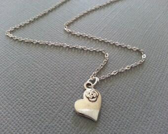 Antique Silver Mini Heart Necklace