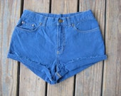 SALE- Vintage Ralph Lauren Jeans Co. high waisted cuffed cutoffs shorts size 4 medium blue
