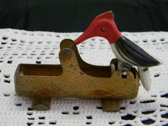 Vintage Cast Iron Woodpecker Toothpick Holder