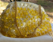 Vintage Sequin and Beaded Gold and Yellow Purse with  Beautiful Yellow Silk Lining with Label