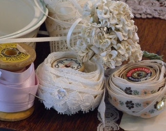 Vintage Ceramic Bowl Filled with Vintage Lace A Gift for yourself, sister or Friend