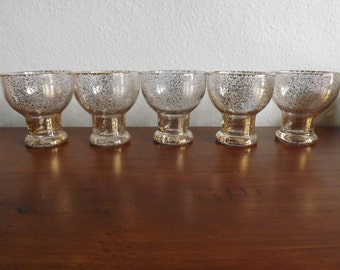 Dorothy Thorpe Vintage Gold Fleck Glasses/Set of Five Vintage Drink Set Glasses/Mad Men Style