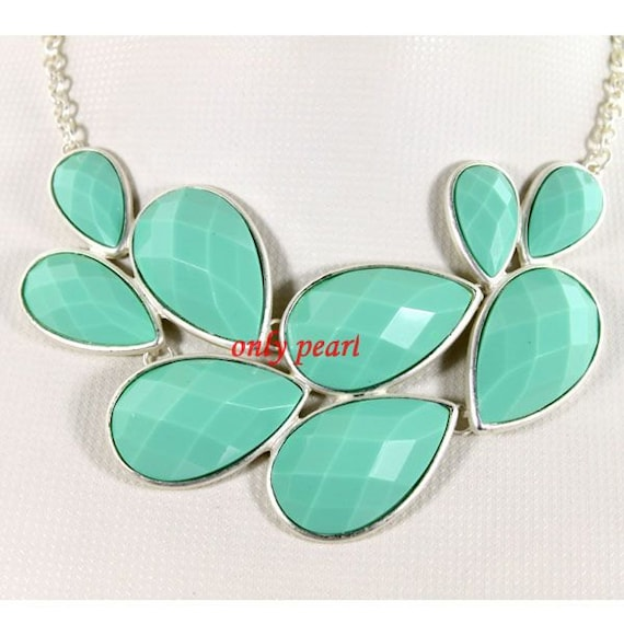 bubble necklace bib necklace Drop Shape Necklace Mint Green bubble necklace  (FN-0902)
