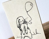 Bunny rabbit card - Black gocco screen-printed on brown ribbed kraft card