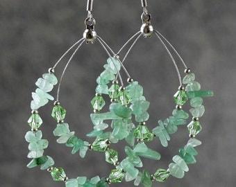 Green Jade big tear drop hoop Earrings Bridesmaids gifts Free US Shipping handmade Anni Designs