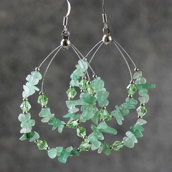green jade big tear drop hoop earrings handmade by annidesignsllc